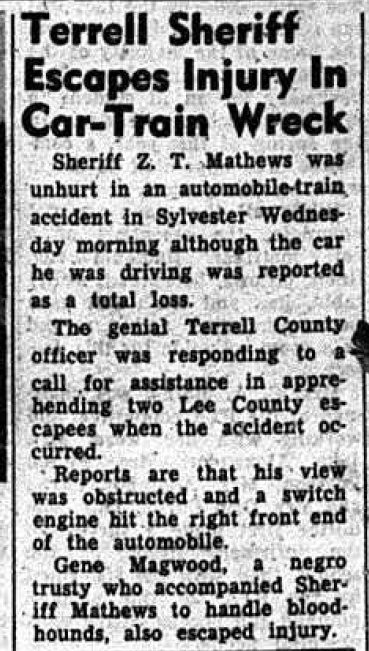 Magwood in Mathews car at accident May 15 1958