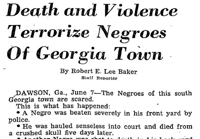 "Washington Post, ""Death and Violence Terrorize Negroes of Georgia Town"""