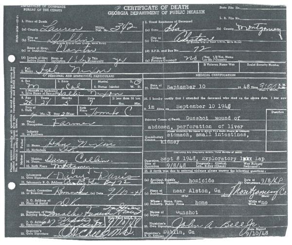 Isaiah Nixon death certificate